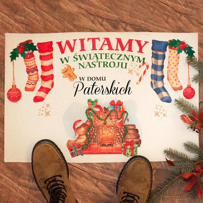 Zdjęcie w galerii - WYCIERACZKA/DYWANIK świąteczne Powitanie Gości z Nazwiskiem Rodziny