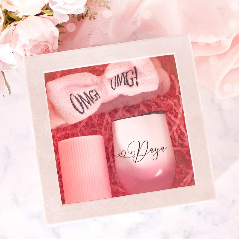 Zestaw OMG dla kobiety, kubek , opaska i świeca w kolorze różowym
