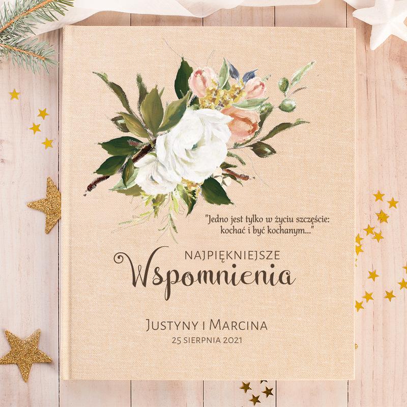 Album eko na zdjęcia ślubne,z grafiką kwiatową i życzeniami dla młodej pary