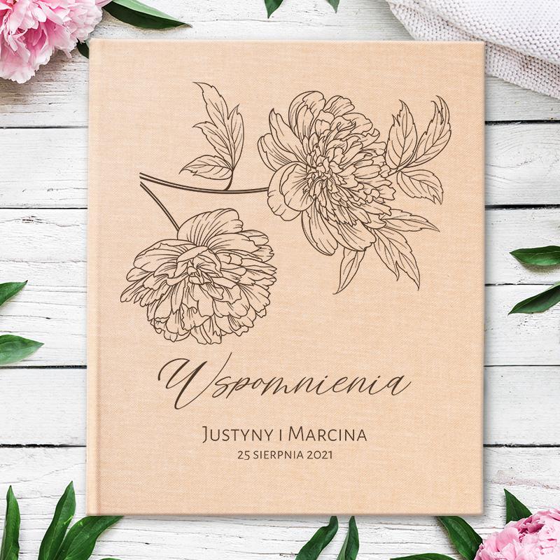 Album eko na zdjęcia ślubne,z grafiką kwiatową i życzeniami dla pary