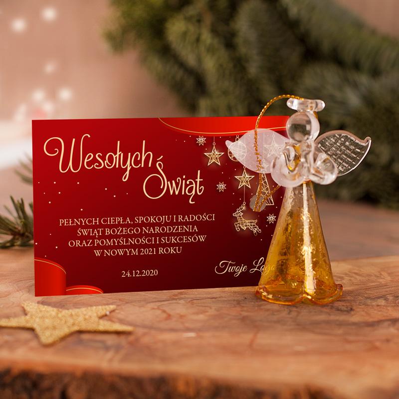 Zdjęcie w galerii - BILECIK czerwony Życzenia Świąteczne Podpis/LOGO Firmy