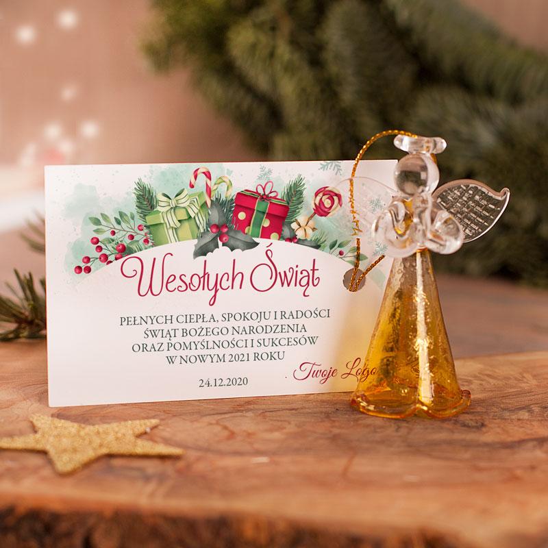 Zdjęcie slidera - BILECIK Życzenia Świąteczne Prezenty z Podpisem/LOGO firmy +ANIOŁEK