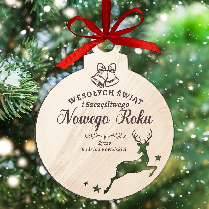 Drewniana bombka to idealny prezent, upominek świąteczny. Bombka to również piękna dekoracja na choinkę.