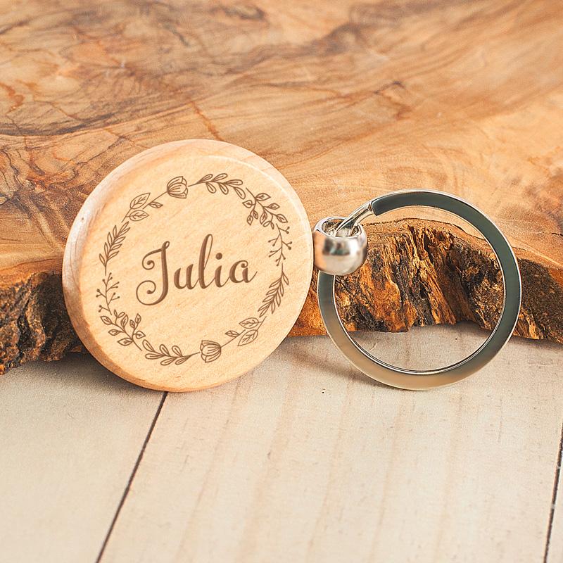 Zdjęcie w galerii - BRELOK Okrągły Drewniany Dla Kobiety