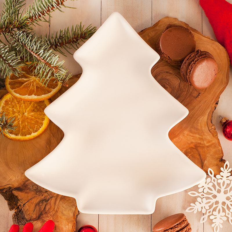Choinka ceramiczna podstawka biała, dekoracja świąteczna.