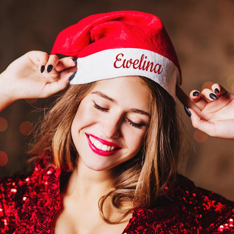 Personalizowana czapka św. Mikołaja z miejscem na Twój napis.