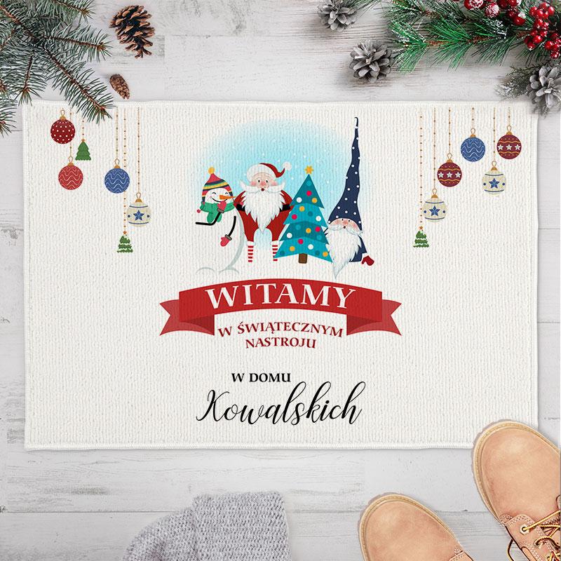 Wycieraczka, dywanik piękna dekoracja świąteczna z nazwiskiem rodziny
