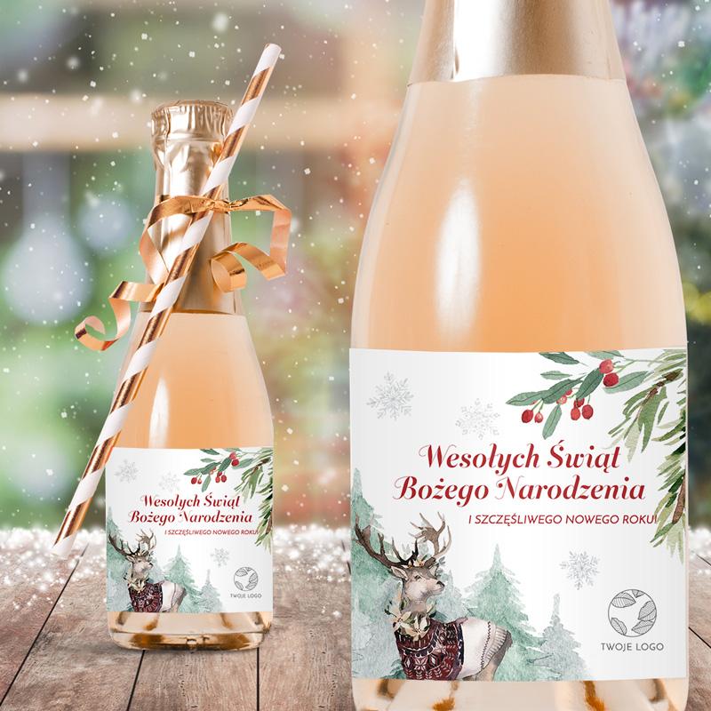 Personalizowane etykiety na mini szampany z grafiką Magia Świąt i personalizowanym podpisem z logo firmy