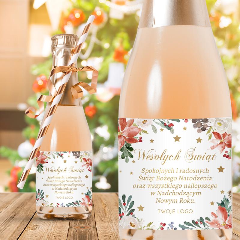 Etykiety samoprzylepne na mini szampany ze świąteczną grafiką w gwiazdę betlejemską oraz z życzeniami na Nowy Rok i Święta.