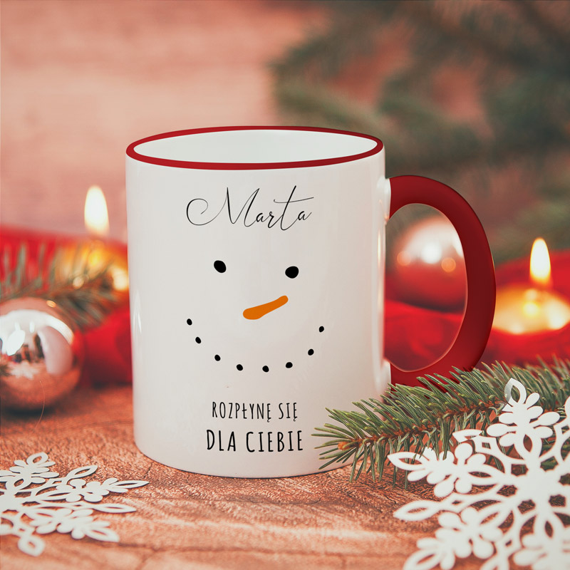 Kubek świąteczny z wizerunkiem bałwana napisem Rozpłynę się dla Ciebie oraz imieniem.
