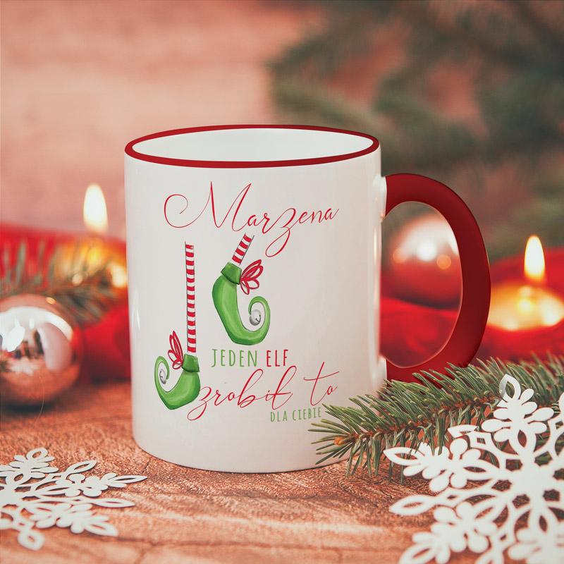 Personalizowany kubek z imieniem oraz kolorowym nadrukiem i dedykacją od Elfa.