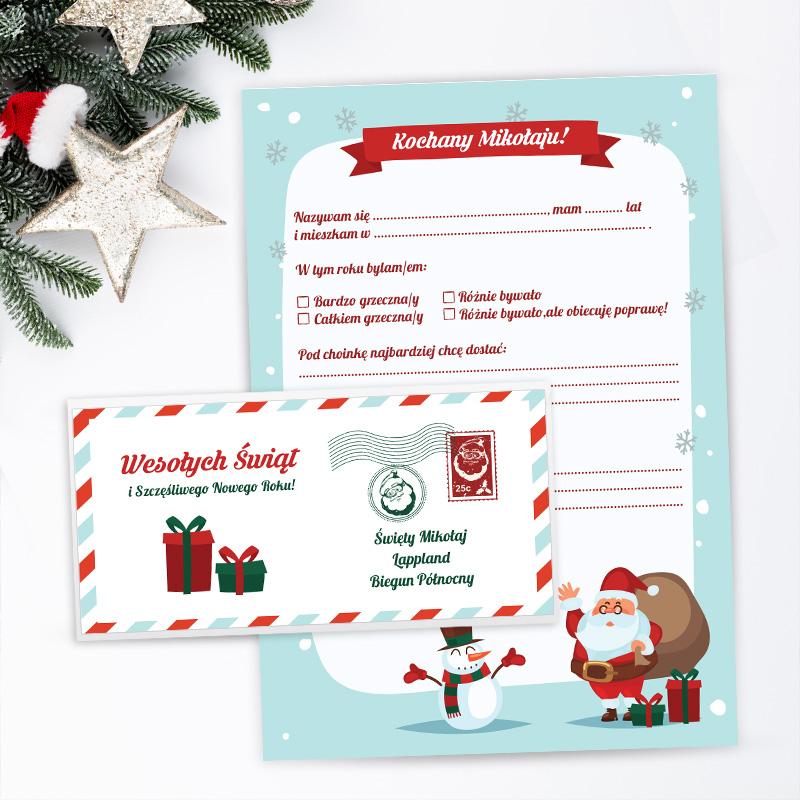 List do Świętego Mikołaja w pięknej kolorystyce ze świątecznym motywem. W zestawie znajduje się koperta.