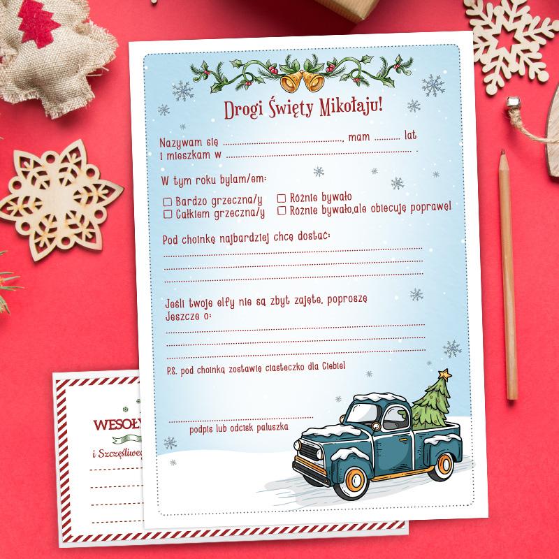 Gotowa do wypisania karta List do Świętego Mikołaja. W zestawie koperta. Tło karty jest zimowe, a na nim rysunek zaśnieżonego samochodu z choinką na bagażniku. Na samej górze listu są świąteczne dekoracje.