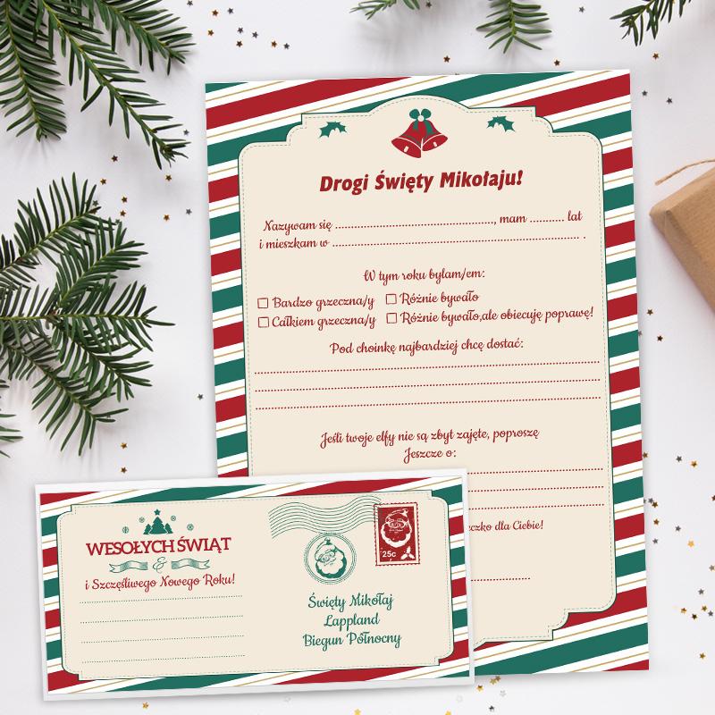 Gotowy list do Mikołaja z miejscem do uzupełnienia oraz pasująca koperta ze wzorem w dzwoneczki i pasy czerwono-zielone.