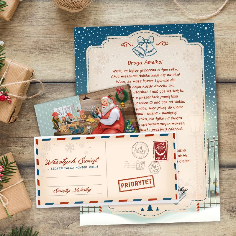 Świąteczna korespondencja List od Mikołaja do Dziecka w ozdobnej kopercie, ze swoim zdjęciem i na dekoracyjnej papeterii z imieniem dziecka w nagłówku listu