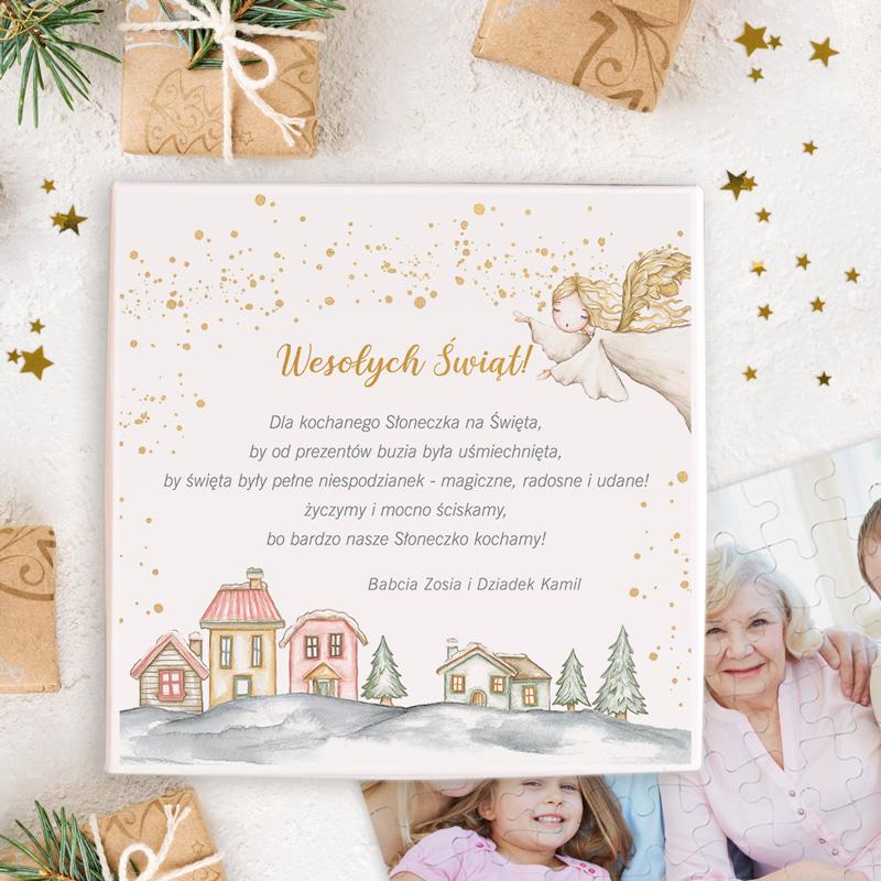 Puzzle układanka ze zdjęciem dla bliskiej osoby z dedykacją świąteczną na wieczku.