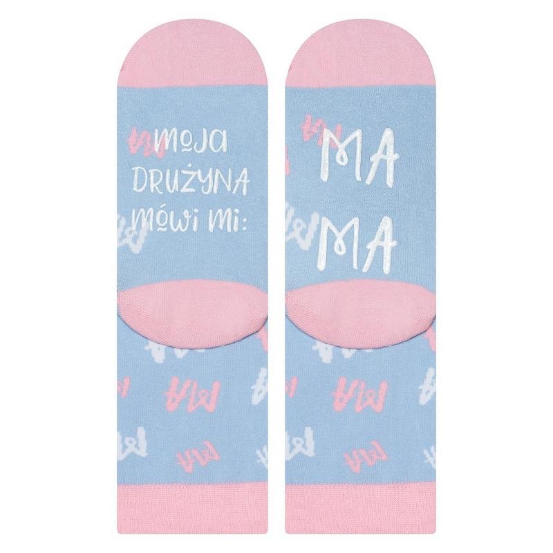 Damskie skarpetki dla mamy różowo-błękitne z napisami moja drużyna mówi mi mama.