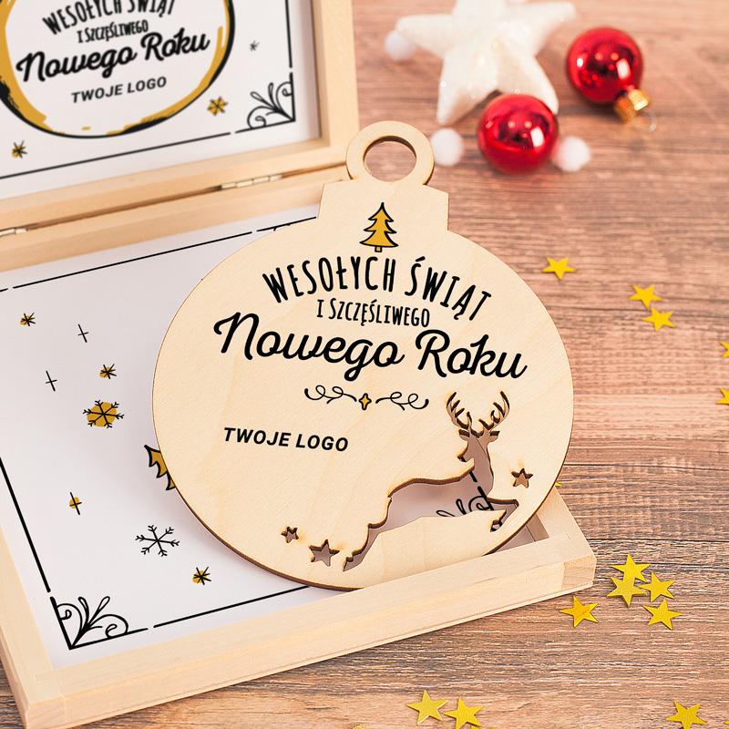 Zdjęcie w galerii - PUDEŁKO prezentowe dla pracowników/rodziny Świąteczna bombka LOGO/Podpis