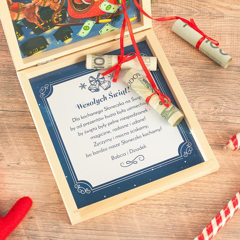 Zdjęcie w galerii - PREZENT Na Święta Pudełko Na Pieniądze Sanie Mikołaja
