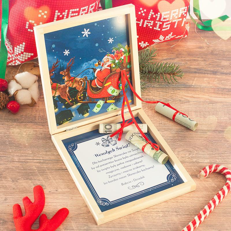 Personalizowana skrzyneczka na pieniądze to idealny prezent na Święta Bożego Narodzenia.
