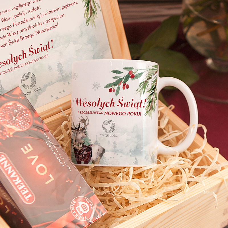 Zdjęcie w galerii - SKRZYNKA Prezent Świąteczny Magia Świąt LOGO/PODPIS