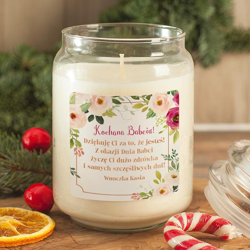 Zdjęcie w galerii - ŚWIECA zapachowa w szkle Prezent dla Babci Kwiaty