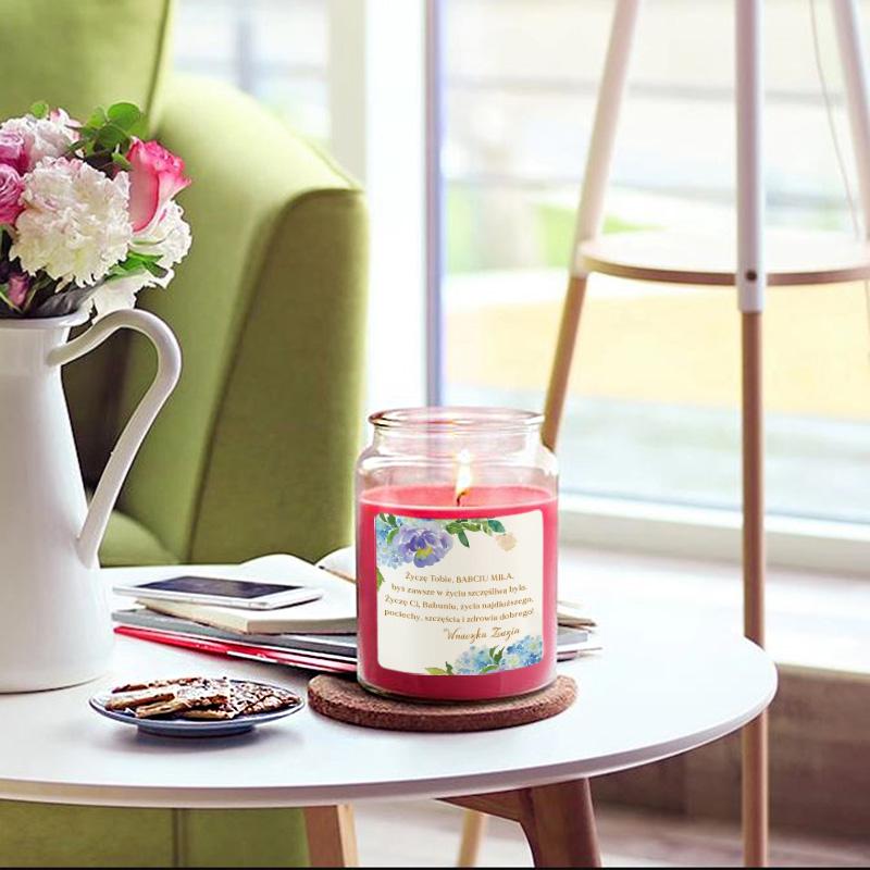 Zdjęcie w galerii - ŚWIECA zapachowa w szkle Prezent dla Babci Niebieskie Kwiaty