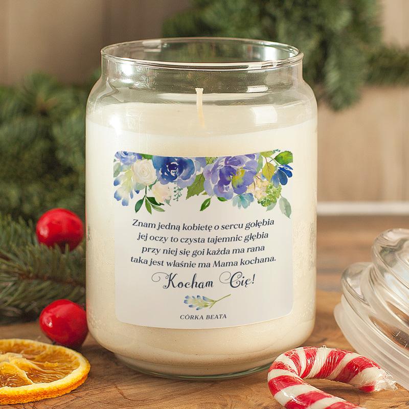 Zdjęcie w galerii - ŚWIECA zapachowa w szkle Prezent dla Mamy Niebieskie Kwiaty