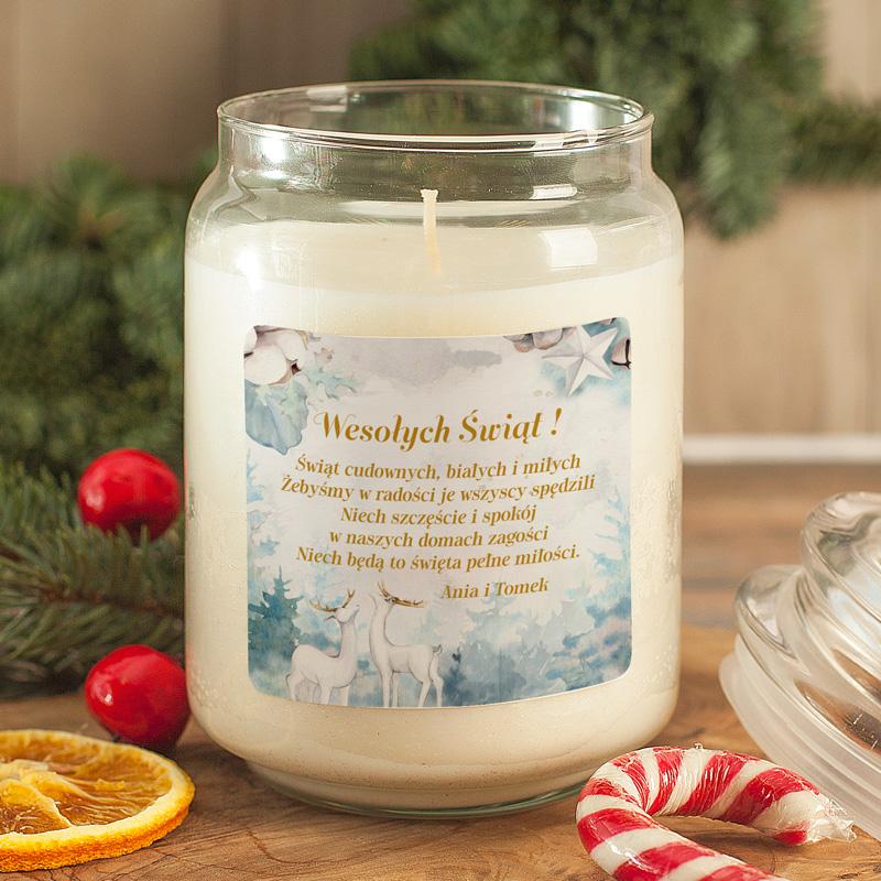 Zdjęcie w galerii - ŚWIECA zapachowa w szkle Prezent Świąteczny Renifery