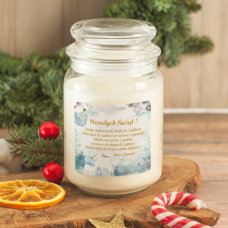 Świeca zapachowa w schlanym słoiczku ze świąteczną etykiet z życzeniami