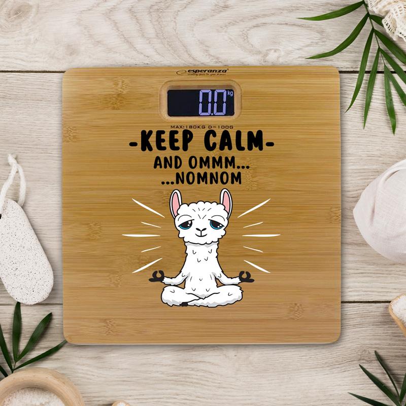Personalizowana waga z bambusową platformą. grafiką białej lamy i miejscem na podpis
