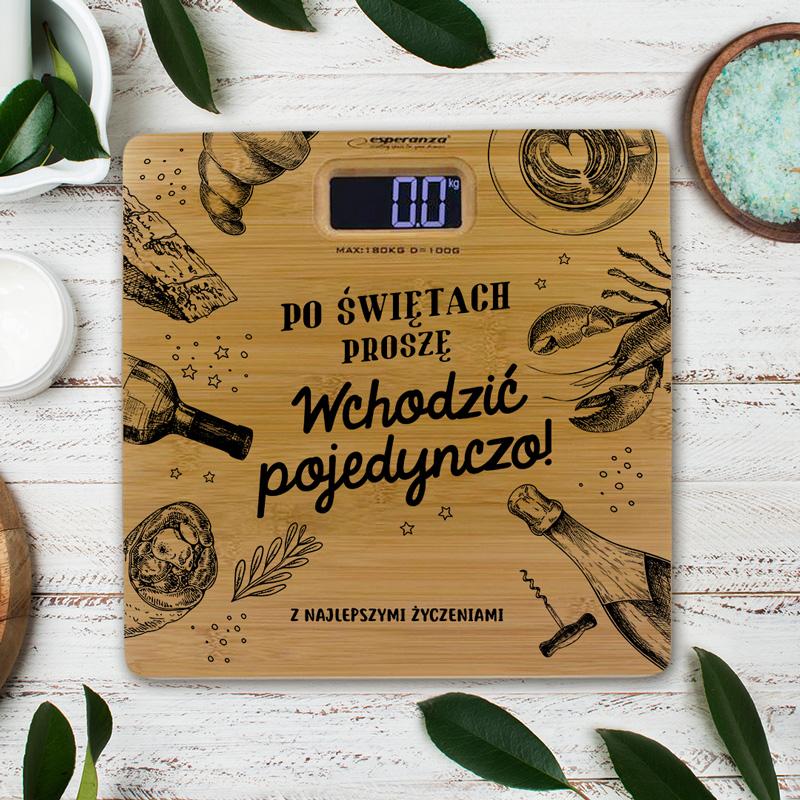 Waga łazienkowa bambusowa z nadrukiem i miejscem na Twój podpis pośród obrazków z motywem jedzenia.