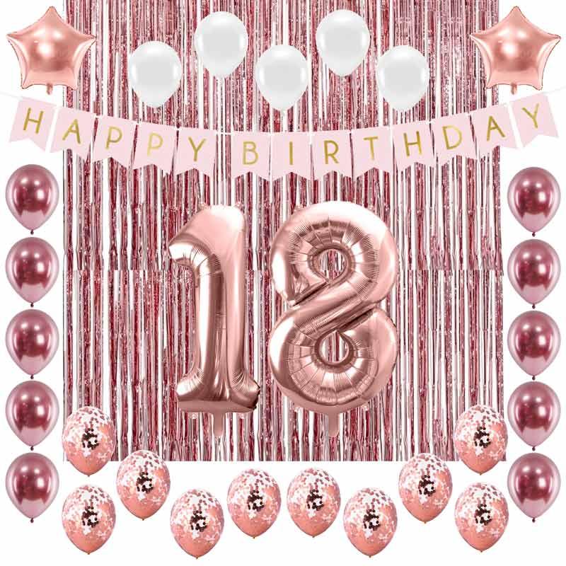 Dekoracje na 18 urodziny w kolorze rosegold.