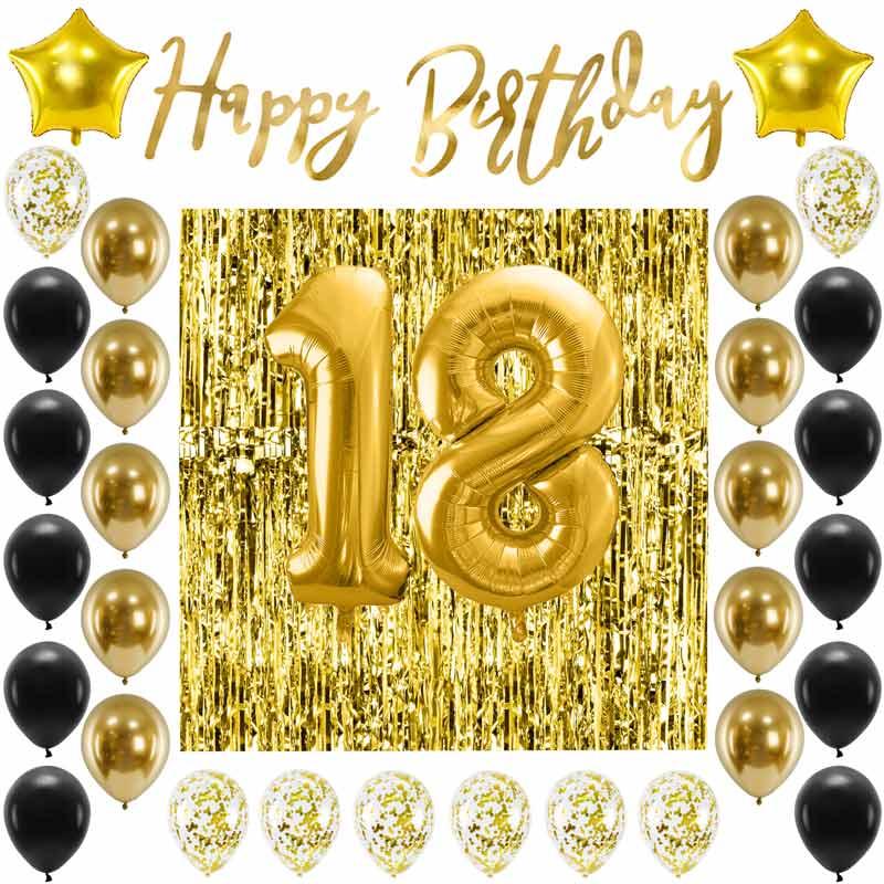 Zestaw dekoracji złoto-czarnych na 18 urodziny. Balony, baner i kurtyna udekorują każdą przestrzeń.