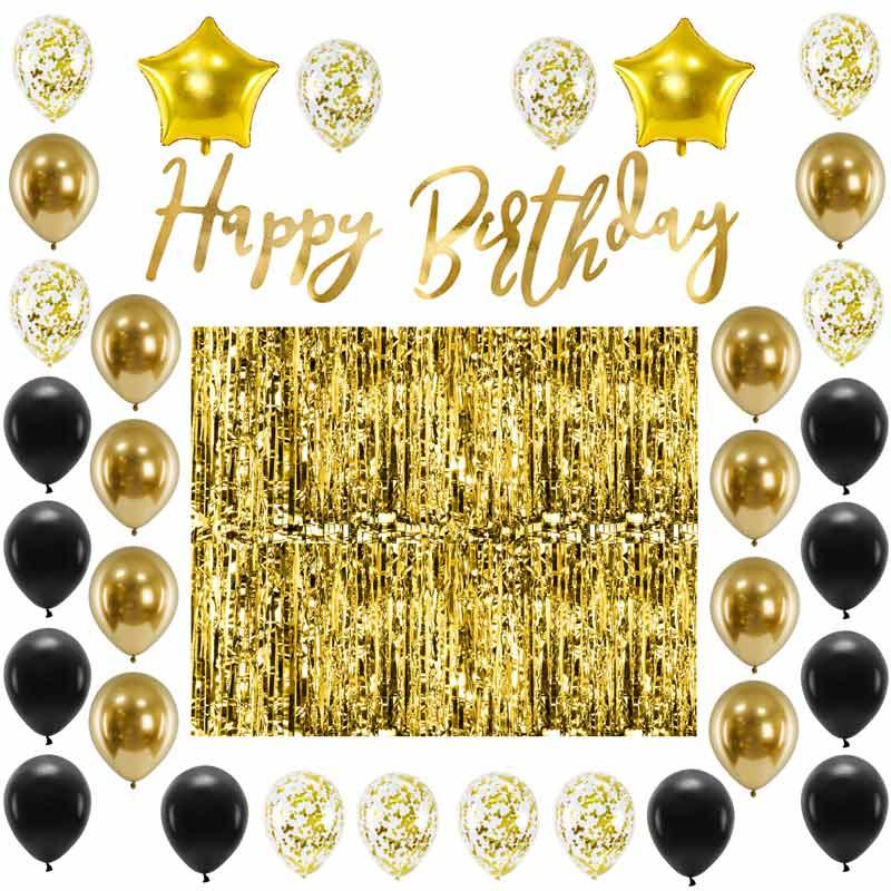 Zestaw dekoracji na urodziny w złoto-czarnej kolorystyce, na urodziny dla dorosłych.