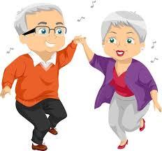 Obrazek na którym widać, jak zadowoleni babcia i dziadek tańczą razem.