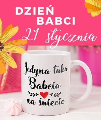 Baner z napisem Dzień Babci 21 stycznia oraz ze zdjęciem białego kubka na którym widnieje czarny napis jedyna taka babcia na świecie. Cały nadruk znajduje się na różowym tle.