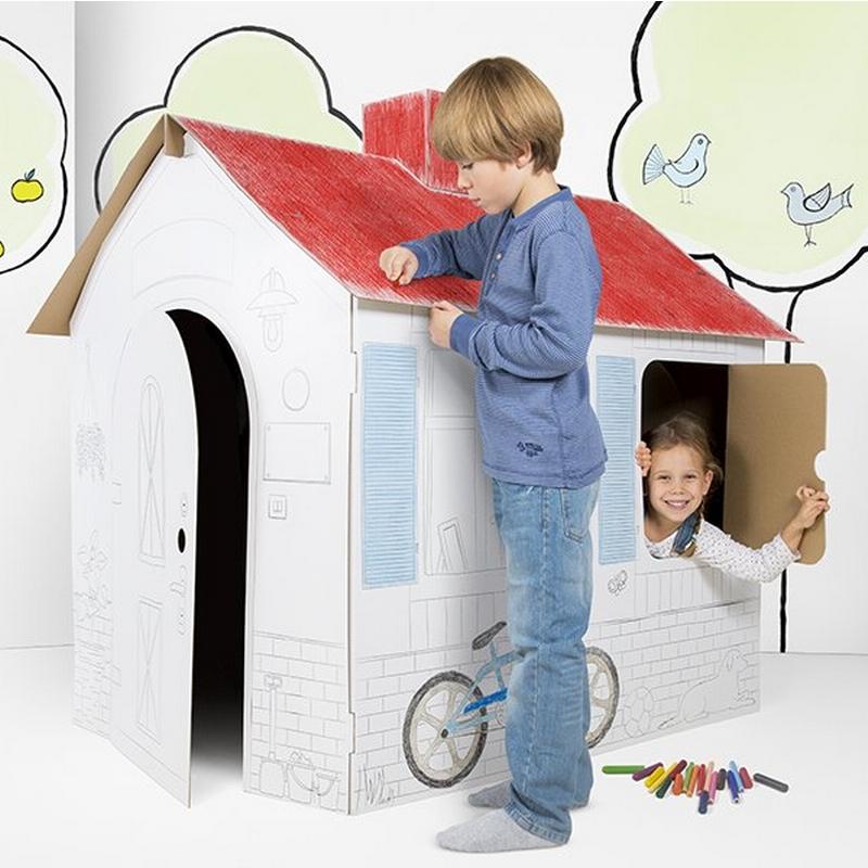 Domek z tektury falistej dla dzieci do złożenia i kolorowania, duże wymiary.