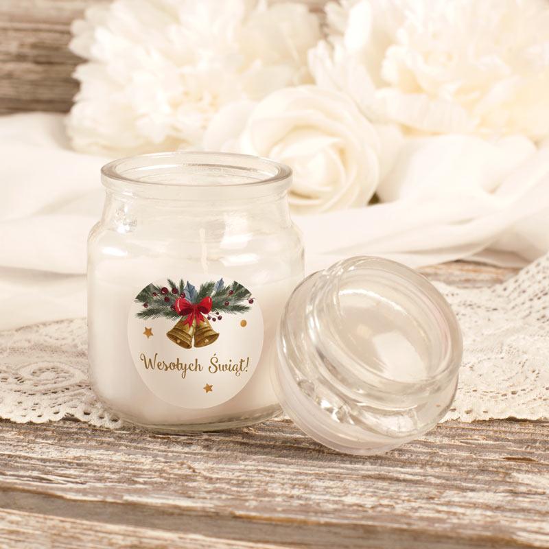 Zdjęcie w galerii - ŚWIECZKA zapachowa w Słoiczku Świąteczna Etykieta WYBÓR WZORÓW