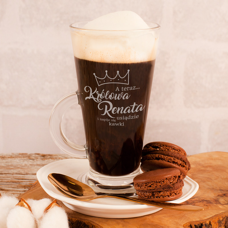 Zdjęcie slidera - SZKLANKA do Kawy Latte Królowa Usiądzie i Napije się Kawki z IMIENIEM