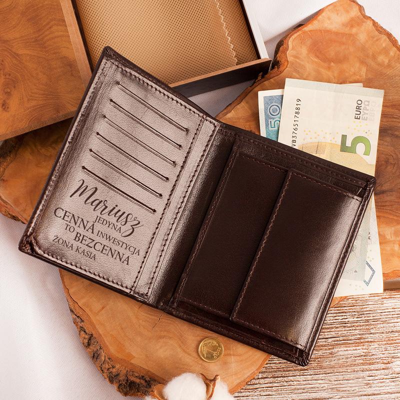 Męski skórzany portfel z nadrukiem wewnątrz