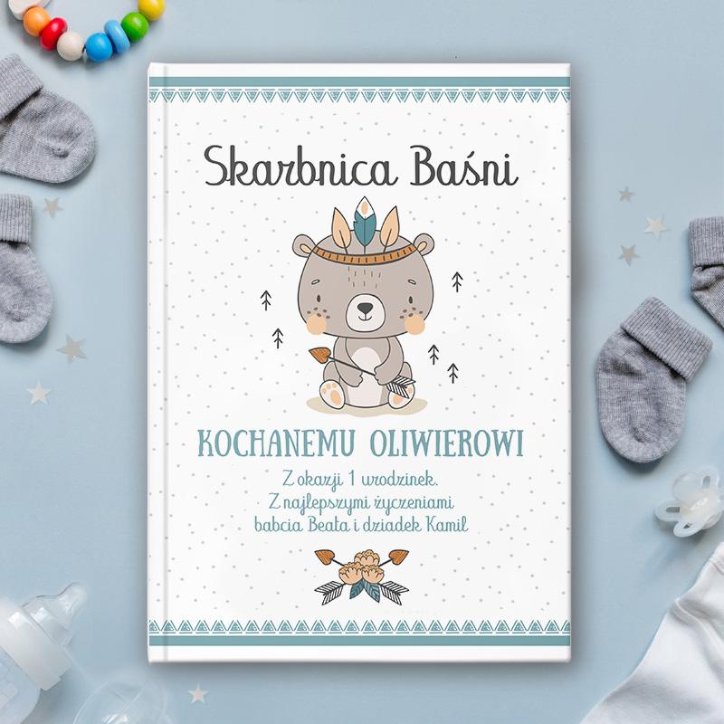 Książeczka z bajkami z personalizowaną okładką oraz grafiką z kolekcji Miś Indianin