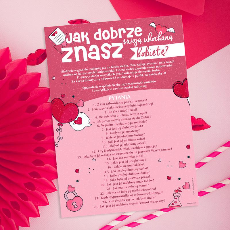 Quiz z pytaniami do faceta na walentynki z 25 pytaniami na znajomość ukochanej na karcie A4 w walentynkowe wzory.