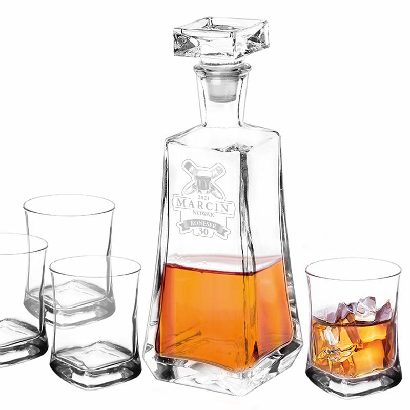 Zdjęcie w galerii - ZESTAW Karafka i 4 Szklanki Dla Konesera Whisky Na Urodziny