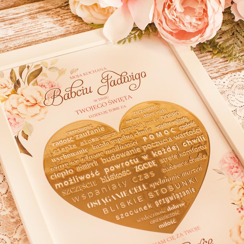 Zdjęcie w galerii - PLAKAT w Ramce Złote Serce Dla Dziadków