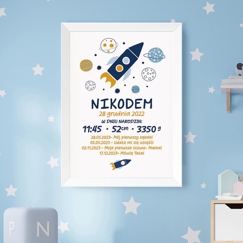 Plakat metryczka dla dziecka posiada tło w białym odcieniu, a na nim umieścimy grafikę z kosmicznym motywem. Personalizacji podlega metryczka oraz pozostałe elementy dotyczące życia dziecka. Wyjątkowy prezent dla chłopca.