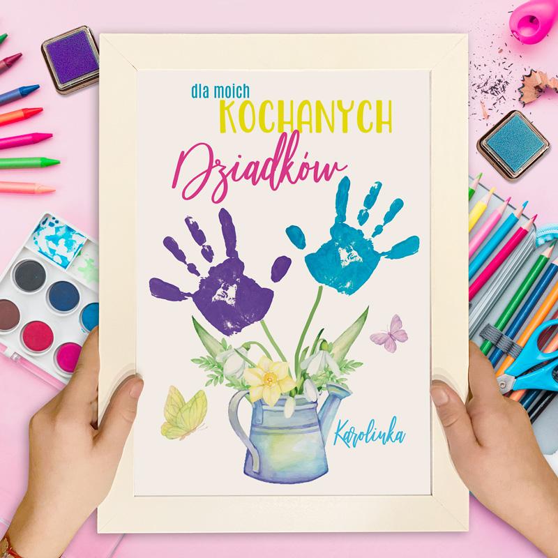 Ramka z plakatem na odciski dziecka. Prezent dla Dziadków z personalizowaną dedykacją.