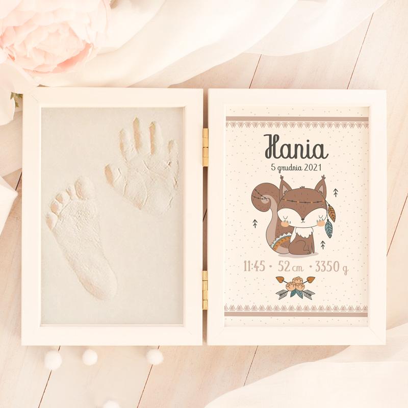 Zdjęcie w galerii - METRYCZKA i Masa na Odcisk Wiewióreczka Podarunek Na Narodziny dla Dziewczynki