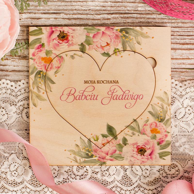 Zdjęcie w galerii - LAURKA z Drewna Dla Babci lub Dziadka Serce i Kwiaty