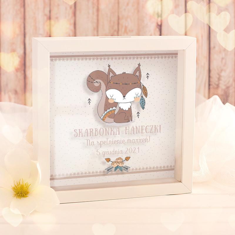 Zdjęcie w galerii - SKARBONKA 3D prezent dla dziecka Wiewióreczka